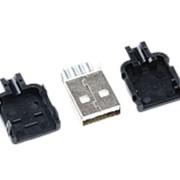 Штекер USB корпусной на провод с защелками (черный) фото