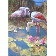 Картина маслом. Фламинго фото