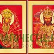 Храм Покрова Богородицы Венчальные иконы (пара): Спас Огневидный - Семистрельная (Огневидная) Богородица, икона на сусальном золоте (дерево 2 см с фото