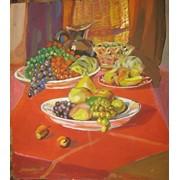 "Картина ""Натюрморт фрукты на столе"".Картон,акрил.55*60см. фото"