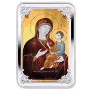 Икона Богоматери Тихвинская. Серебряная монета фото