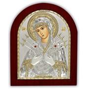 Семистрельная Икона позолоченная серебро 925 Silver Axion (Греция) 200 х 250 мм на деревянной основе фото