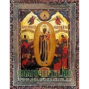 Благовещенская икона Всех скорбящих Радость Богородица, копия старой иконы, печать на дереве Высота иконы 11 см фото