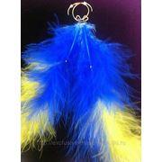 Серьги-перья сине-желтые фото