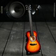 """Гитара сувенирная """"Акустическая"""" коричневая, на подставке 24х8х2 см фото"""