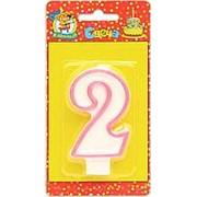 """Свеча для торта """"Цифра 2. Розовая окантовка"""" Миленд, картон. уп., европодвес, С-1186 фото"""