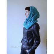 Бирюза-вязаный женский шарф снуд (хомут труба) фото