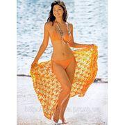 Желтый вязаный купальник фото