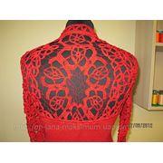 Платье вязанное красное фото