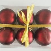 """Набор елочных шаров """"Бордовый бархат"""", 6 шт, 8 см, бордовые матов., (MILAND) фото"""