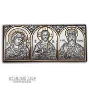 Автомобильная греческая Икона Трех Святых с серебром и позолотой в Украине. Код товара: ОEK1XBG фото