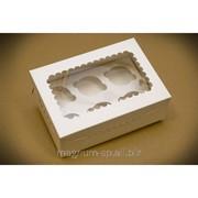 Упаковка на 6 кексов с прозрачным окном фото