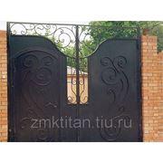 Ворота распашные,с элементами ковки. фото