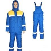 Куртка с полукомбинезоном сини с желтый фото