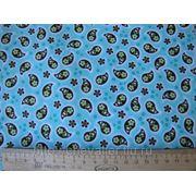 Голубая ткань с коричневыми пейсли фото