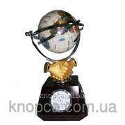 """Подарочный глобус с часами """"Рукопожатие"""" фото"""