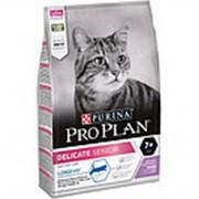 Pro Plan 400г Delicate Senior 7+ Сухой корм для взрослых кошек старше 7 лет с чув&пищ Индейка фото
