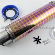 Глушитель тюнинг 420*100mm, креп. Ø78mm нержавейка, квадраты, mod:20 фото