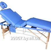 Складной 4-х секционный деревянный массажный стол BodyFit, синий фото
