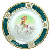 Тарелка с вашим фото на подставке (зеленый орнамент) фото