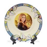 Печать на тарелках с орнаментом лотос фото