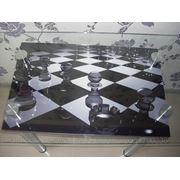 Стол стеклянный (шахматы)№16 фото