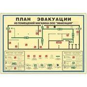 План эвакуации с инструкцией А3 (фотолюминесцентной пленкой) фото