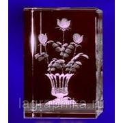 Объёмная лазерная гравировка в стекле (кристалле) - Параллелепипед 80х80х170 фото