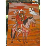 Картина Чингиз Хана на коне из кожи. фото