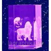 Объёмная лазерная гравировка в стекле (кристалле) - Параллелепипед 50х50х80 фото