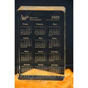 Календарь. Стекло. 93х130х12(50) Объёмная лазерная гравировка. фото