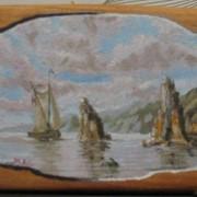 Картина маслом на дереве (ольха).Море кораблик. фото