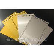Изготовление металлических визиток со штрих кодом (золото, серебро) фото
