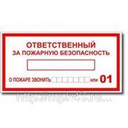 """Табличка """"Ответственный за пожарную безопасность"""" 200 х 100 фото"""