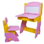 Парта со стульчиком для девочек желто-розовая фото
