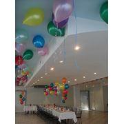 Оформление зала шарами, шары сердца фото