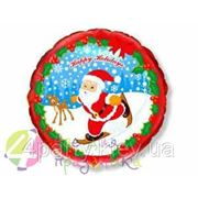 Шарик фольга Новый год Санта на лыжах