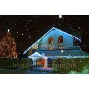 Новогоднее оформление частных домов,украшение фасадов,елок,территории,гирлянды с мерцанием фото