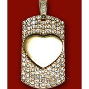 Медальон со стразами сердце 29х50мм с нанесением изображения фото