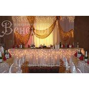 Оформление свадебного зала воздушными шарами и тканью в Омске. http://www.veneciya-omsk.com/украшение-залов/ фото