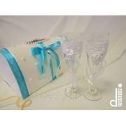 Свадебный набор бокалы и сундучок фото