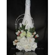 Оформление свадебных бутылок фото