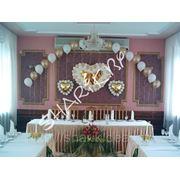 Сердце плетеное из воздушных шаров, сердца фольгированные, арка из шаров наполненных гелием. арт.126 фото