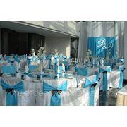Оформление зала цвета голубой+шоколад фото