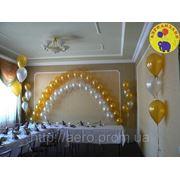 Двойная арка из шаров, украшение на свадьбу фото