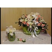 Свадебная композиция розово-белая из искусственных цветов (прокат) фото