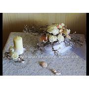 Свадебная композиция из искусственных цветов на декоративных ветках (прокат)