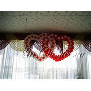 Оформление зала воздушными шарами тканями фото