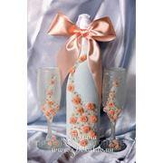 Свадебное шампанское, свадебные бокалы фото