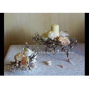 Свадебная композиция из искусственных цветов в морском стиле (прокат) фото